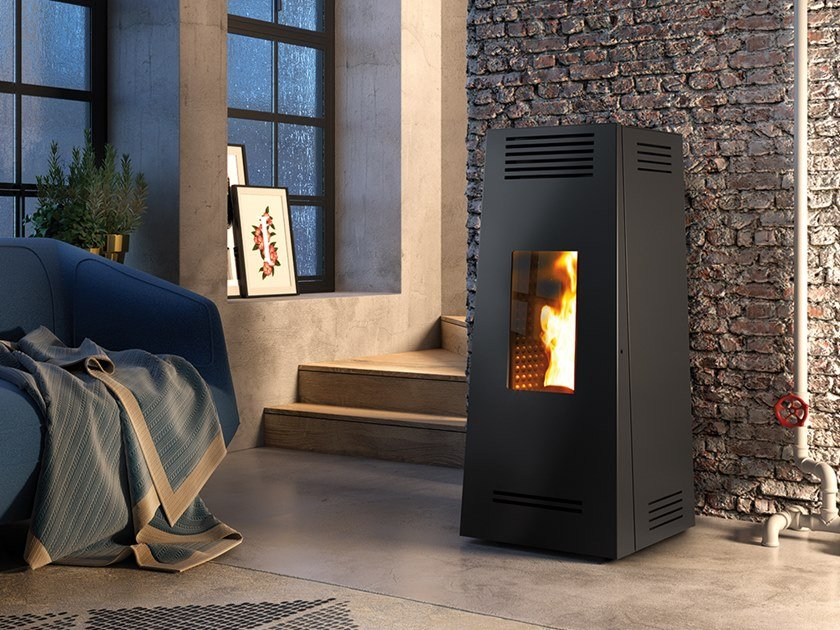 Pellet Class A+ wall-mounted steel stove TIMBRO EVO by CAMINETTI MONTEGRAPPA