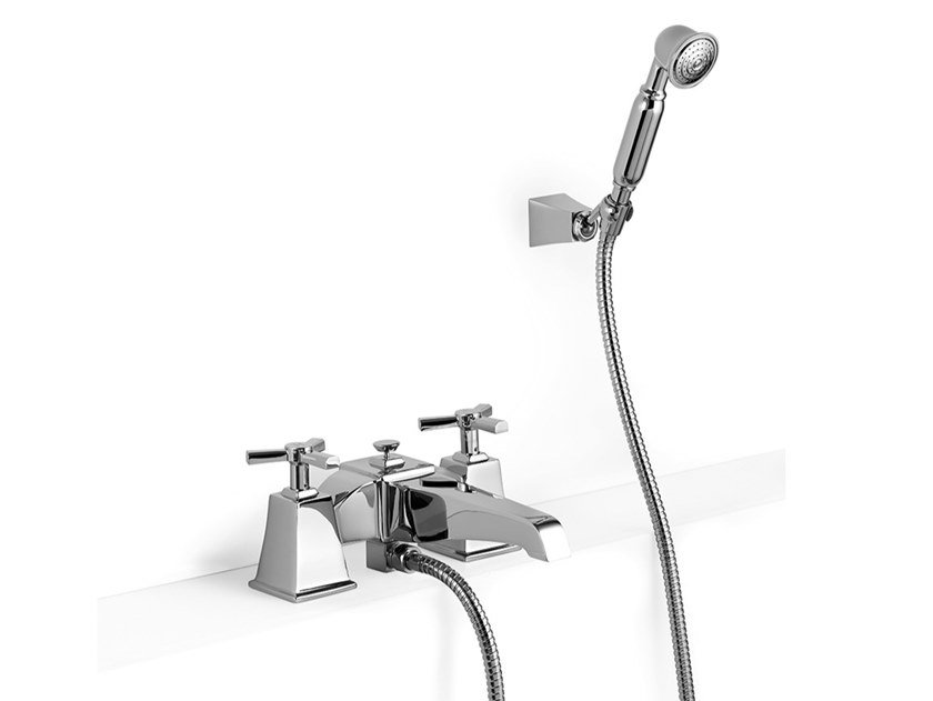 Deck mounted brass bathtub tap with hand shower TIME | Deck mounted bathtub tap with hand shower by Devon&Devon