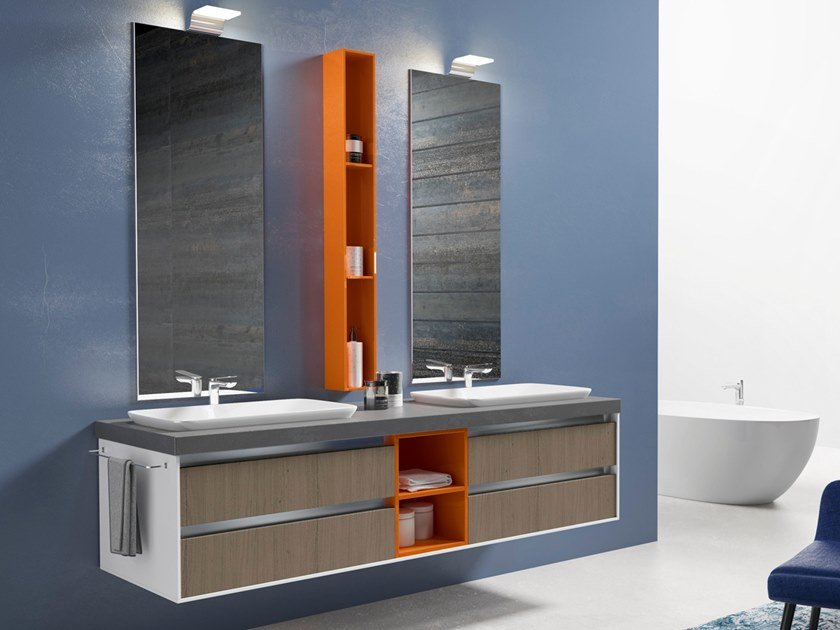 Double wall-mounted vanity unit with drawers TIME LINE by Gran Tour
