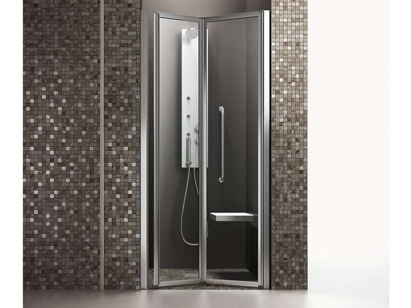 Niche accessible shower with folding door TIME | Niche accessible shower by ARBLU