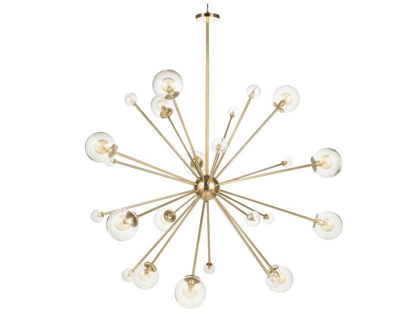Brass chandelier TIMELESS SPUTNIC 01 by Il Bronzetto