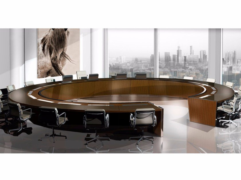 Wooden meeting table TIMES SQUARE | Round meeting table by JOSE MARTINEZ MEDINA