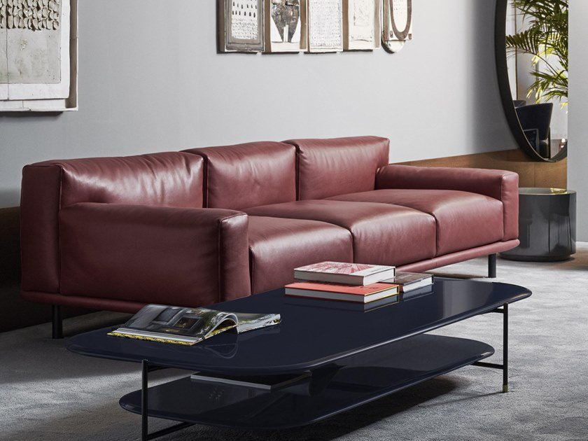 4 seater leather sofa TIMOTHY | Leather sofa by Meridiani