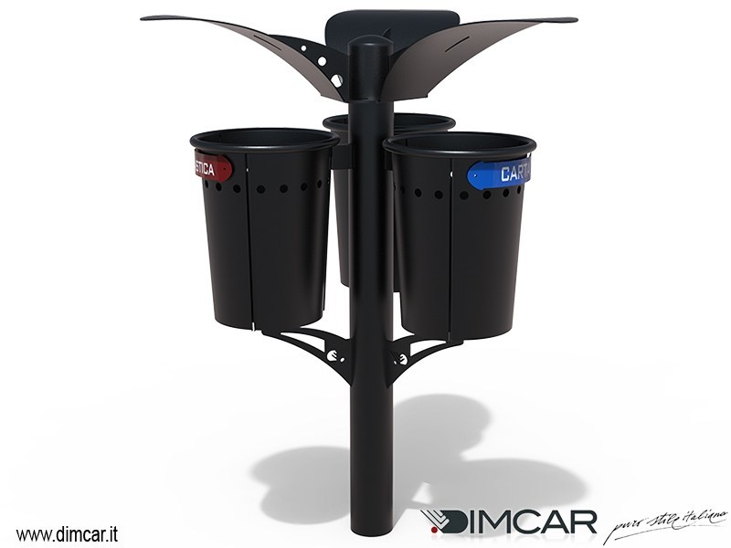 In-ground outdoor litter bin with lid TIPLO PIRRO   Litter bin with lid by DIMCAR