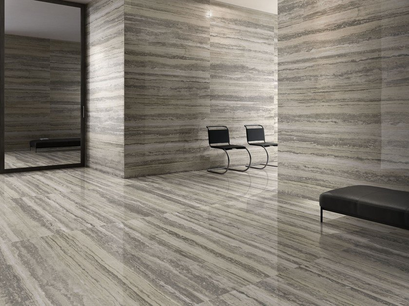 Porcelain Stoneware Wall Floor Tiles With Travertine Effect Tipos Silver By Ceramica Sant Agostino