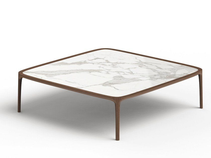 Low Wood And Marble Coffee Table Tippo Square By Thelos