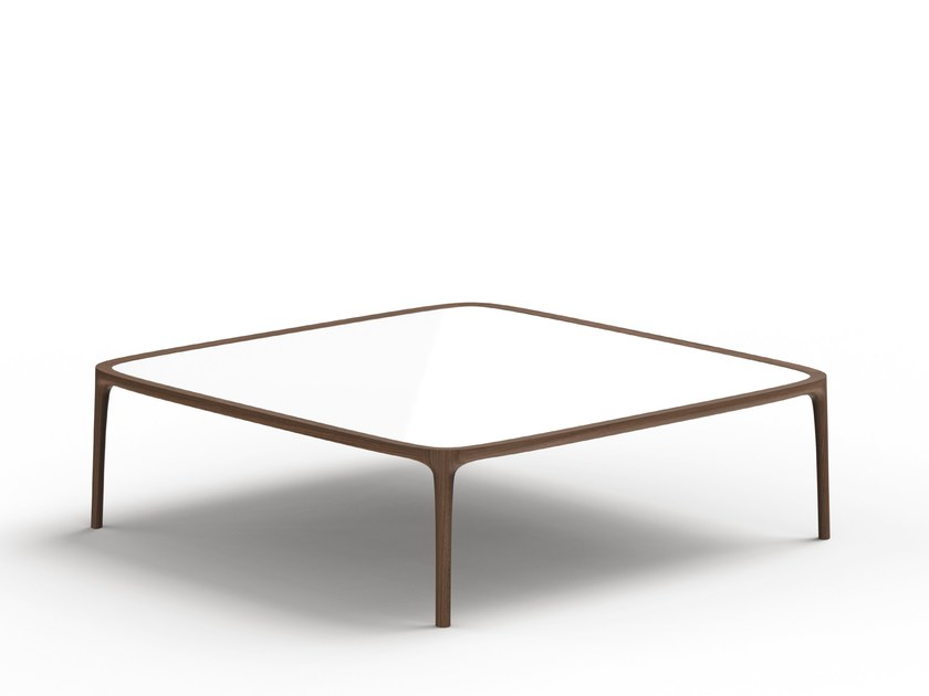 Low Square Coffee Table TIPPO | Wood And Glass Coffee Table By THELOS