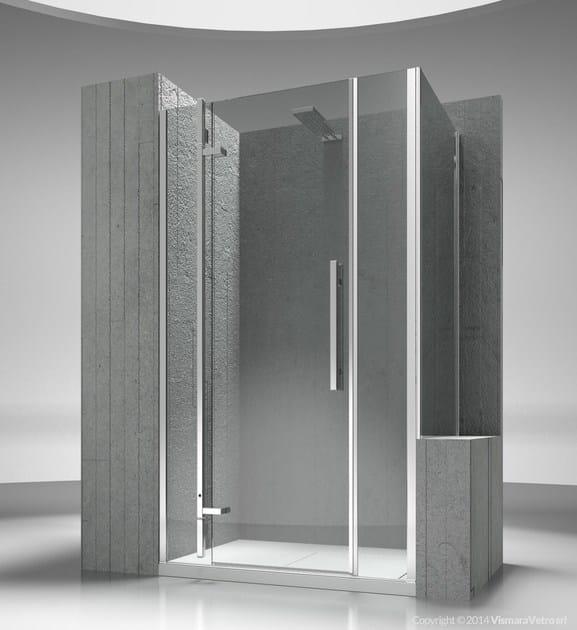 Custom tempered glass shower wall panel TIQUADRO QM+QP by VISMARAVETRO