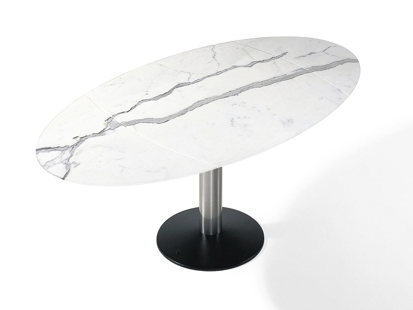 Extending oval natural stone dining table TITAN | Natural stone table by Draenert