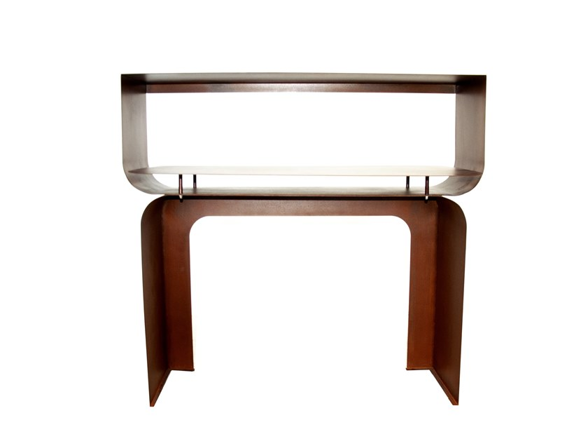 Corten™ console table with shelving TITANO by TrackDesign