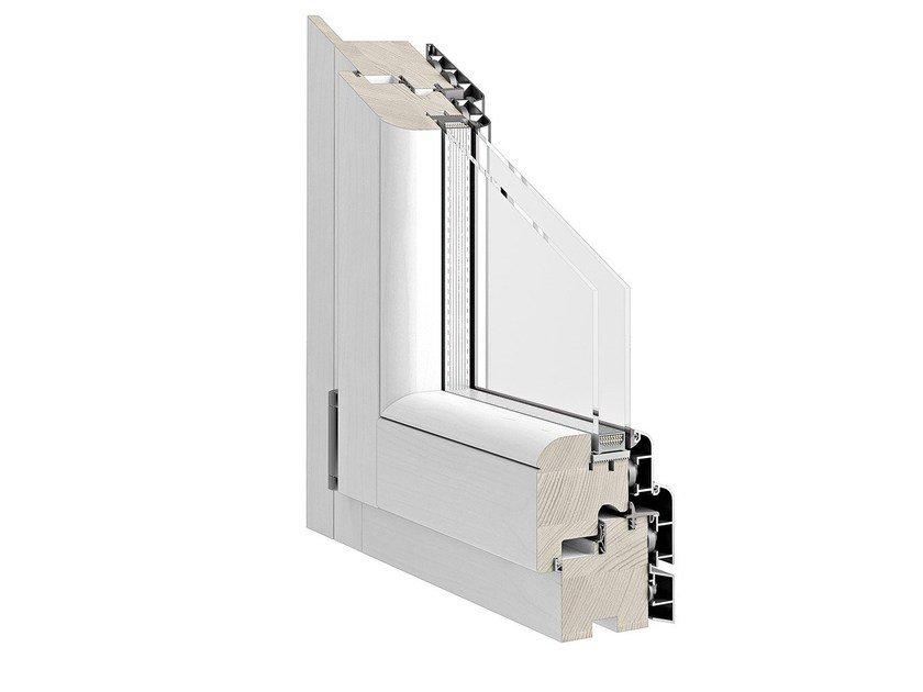 Aluminium and wood casement window TITANUS 86 by Pail Serramenti