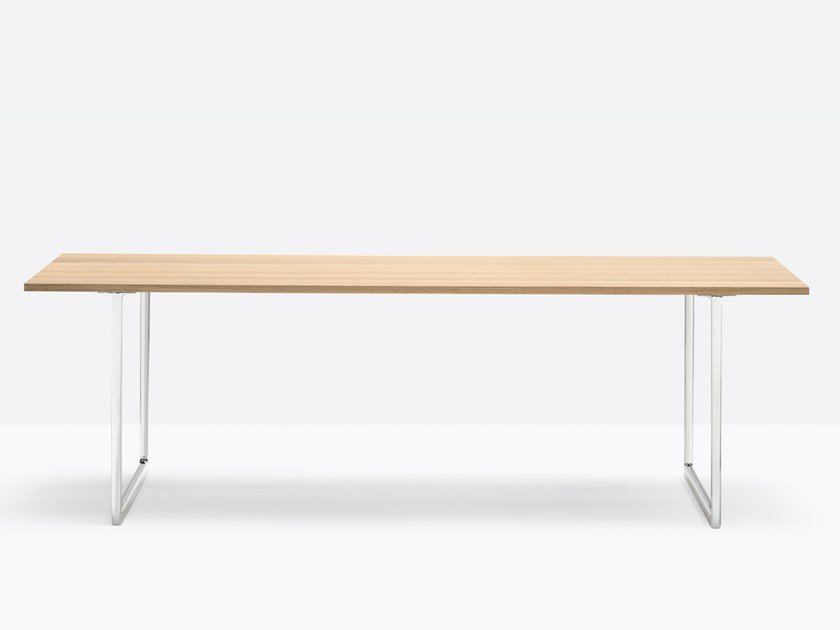 Rectangular oak and aluminium table TOA DESK | Oak table by Pedrali
