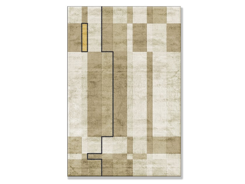 Handmade custom Bamboo silk rug with geometric shapes TOBACCO by Sirecom Tappeti