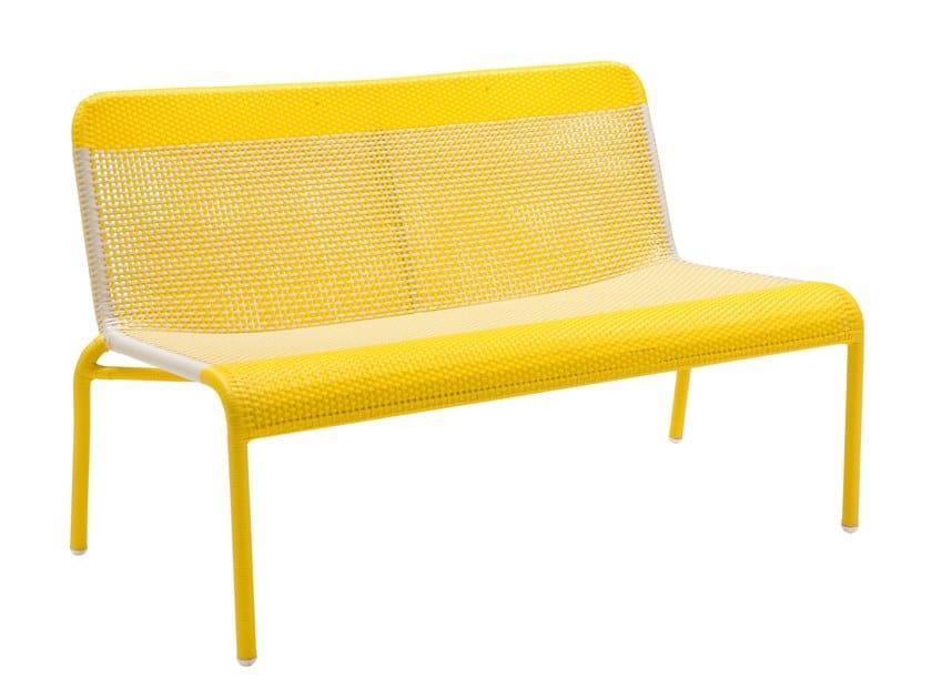 Garden bench with back TOBAGO - JAUNE | Garden bench by Kok Maison