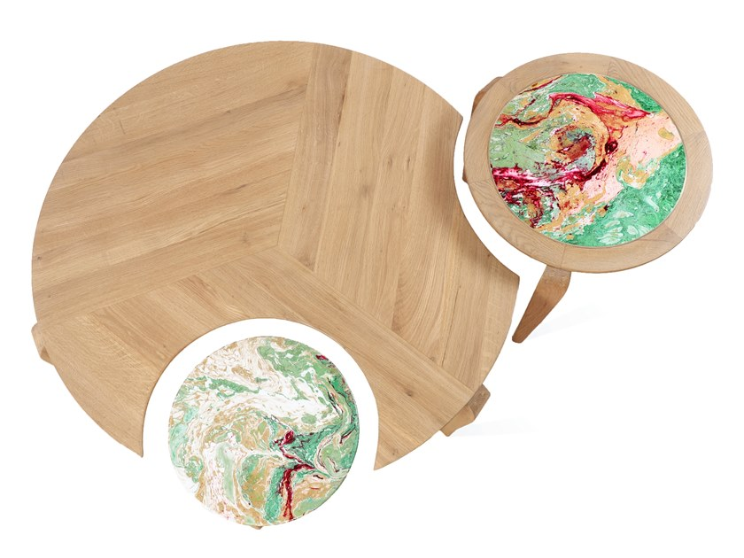 Set of round solid wood coffee tables TOHA by ALANKARAM
