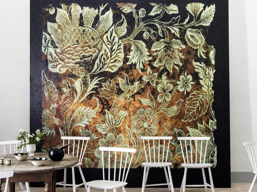 Panoramic vinyl wallpaper with floral pattern TOISON D'OR by Élitis