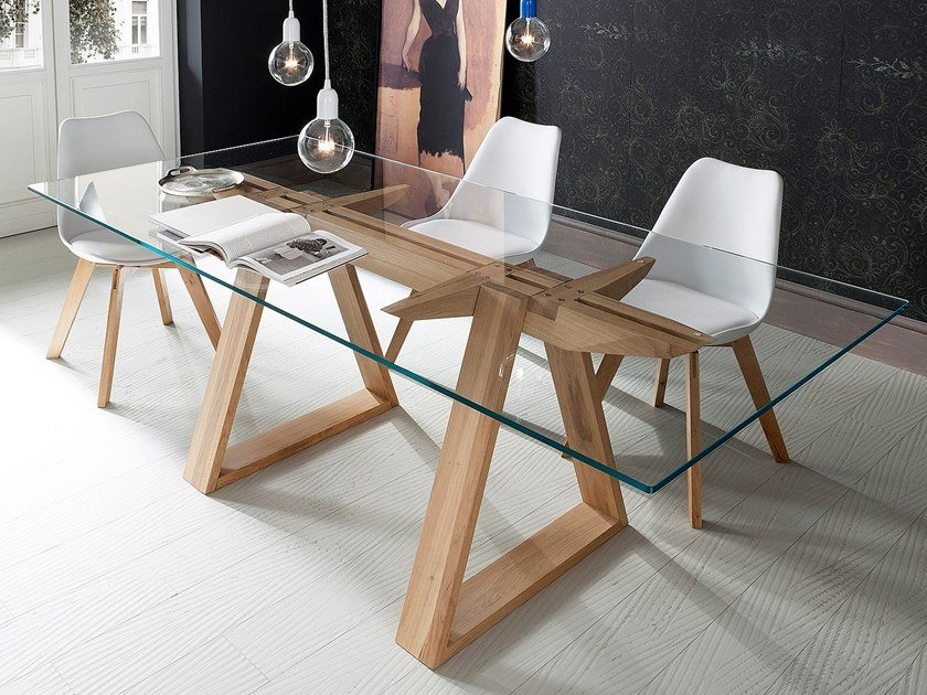 Rectangular tempered glass dining table TOKYO by AltaCorte