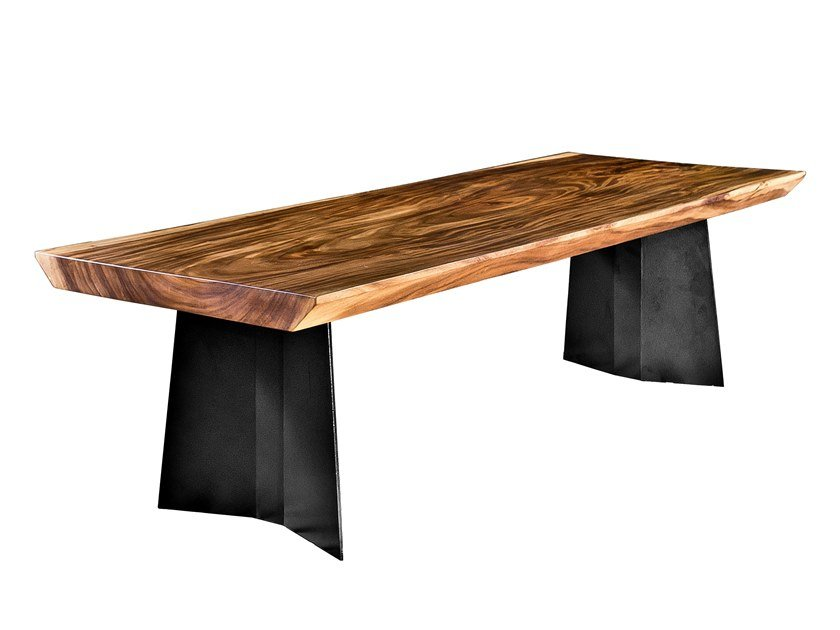 Table with Suar wood top and steel frame TOKYO by CONTE CASERTA