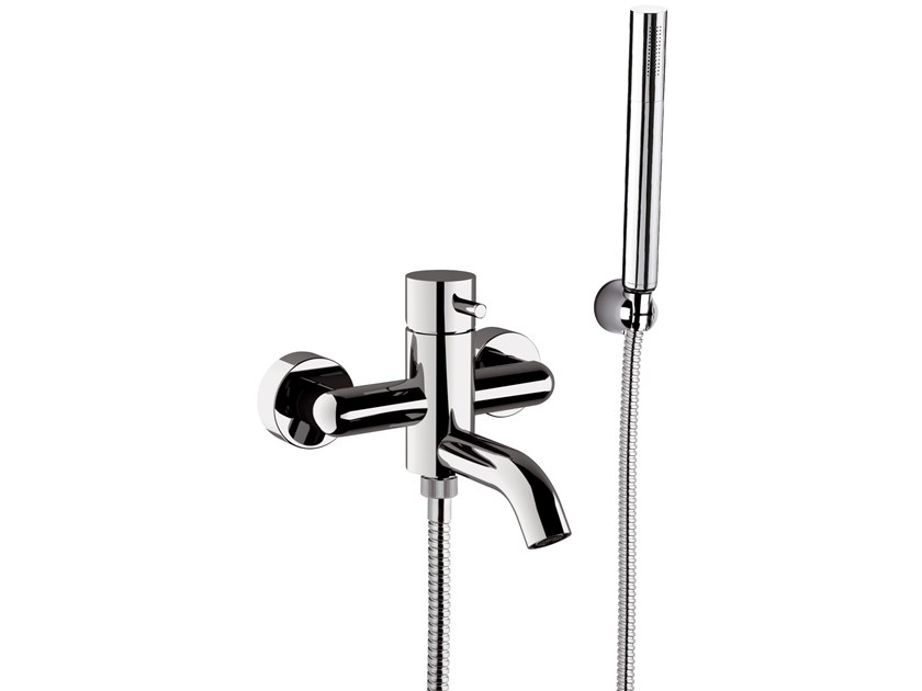 2 hole external brass bathtub mixer with diverter TOKYO | Bathtub mixer with hand shower by Daniel Rubinetterie