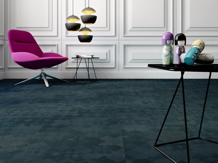 Plastic carpet tiles with geometric shapes TOKYO by OBJECT CARPET GmbH