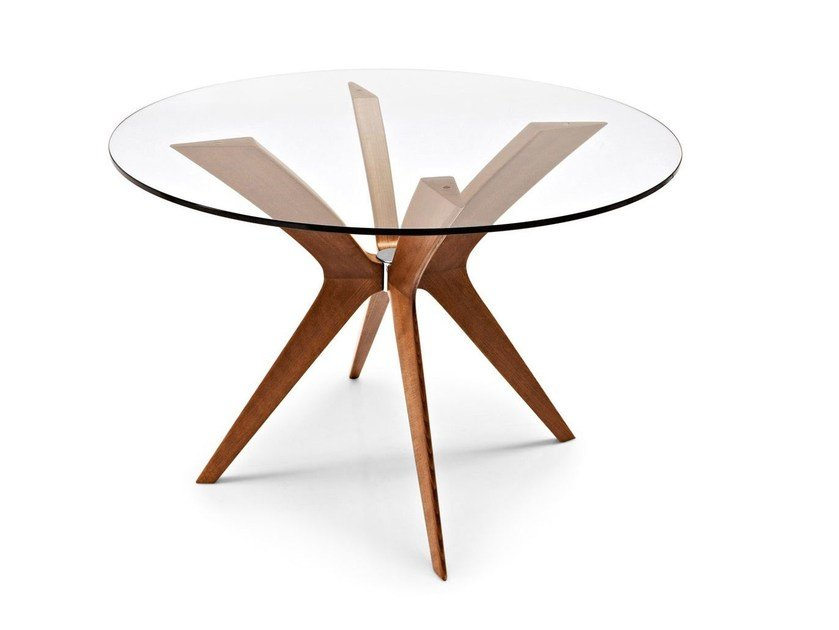 Round wood and glass table TOKYO | Round table by Calligaris
