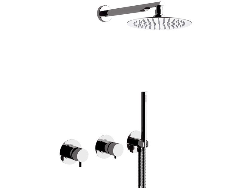 Brass shower set with overhead shower TOKYO | Shower set with individual rosettes by Daniel Rubinetterie