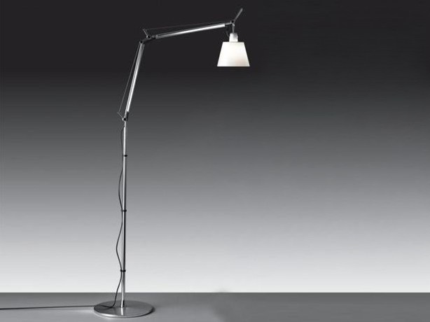 Reading height-adjustable halogen adjustable aluminium floor lamp TOLOMEO FLOOR BASCULANTE by Artemide