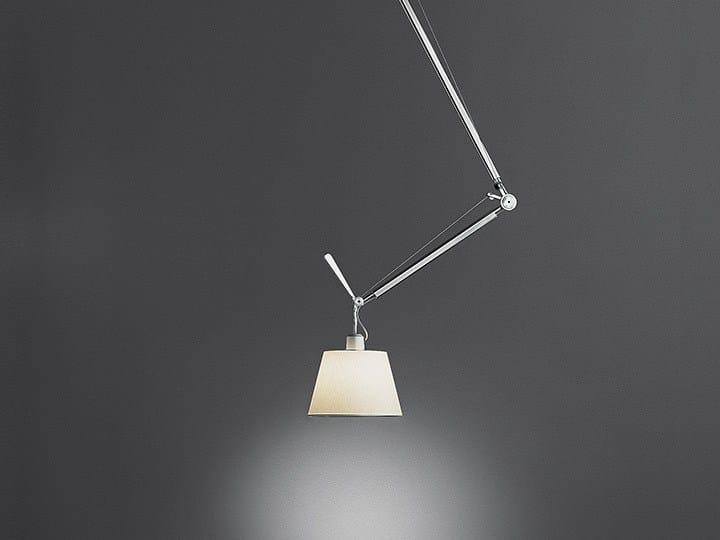 Direct light halogen parchment paper pendant lamp TOLOMEO DECENTRATA | Parchment paper pendant lamp by Artemide
