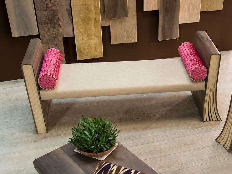 Upholstered wooden bench TOMI DE LEGN | Bench by CADORIN GROUP