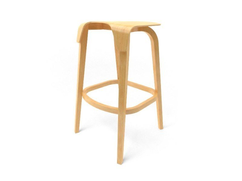 High wooden stool TON | LEAF BARSTOOL by Archiproducts.com