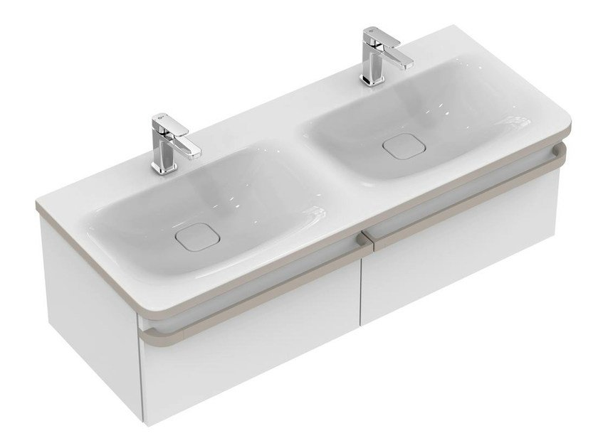 Double wall-mounted vanity unit with drawers TONIC II 120 cm - R4305 by Ideal Standard