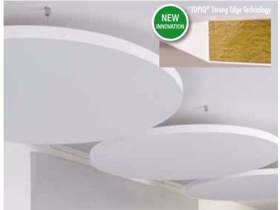 Rock wool acoustic ceiling clouds TOPIQ® Sonic element by Knauf Italia