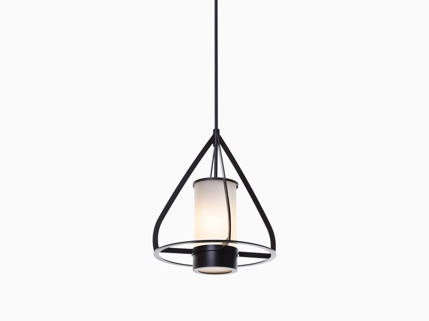 Direct light glass and steel pendant lamp TOPO by Kevin Reilly Collection