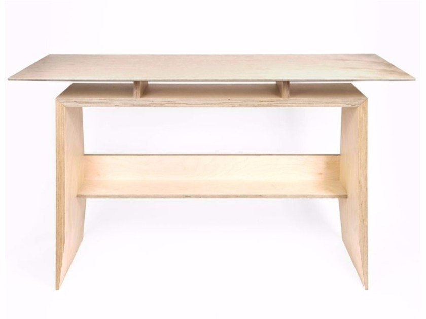 Rectangular multi-layer wood writing desk TORAMA by MALHERBE EDITION