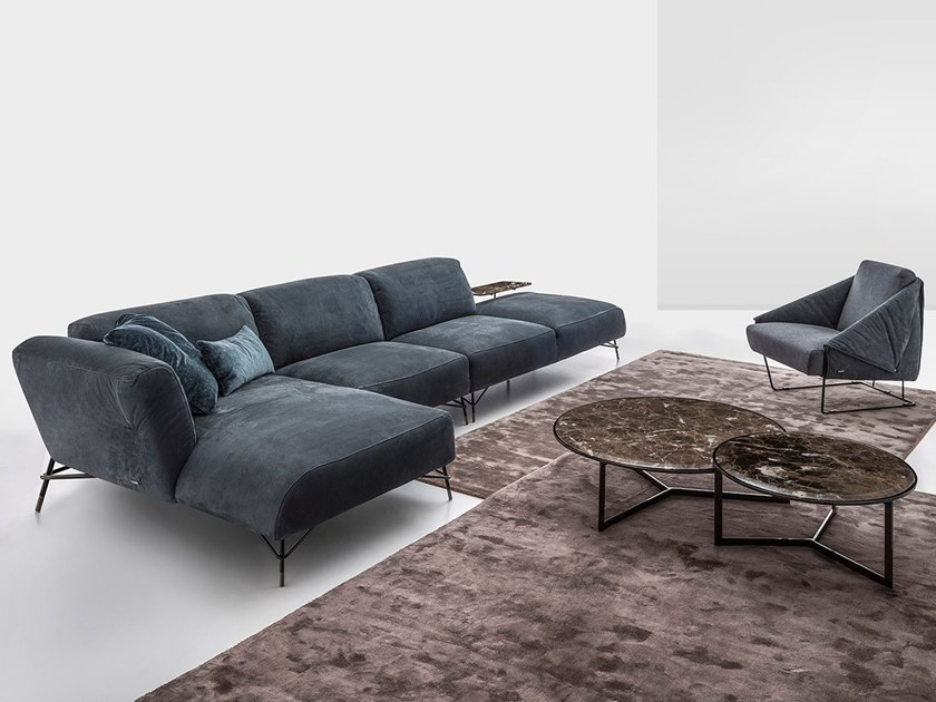Sectional sofa with chaise longue TORTONA LIVING by NICOLINE