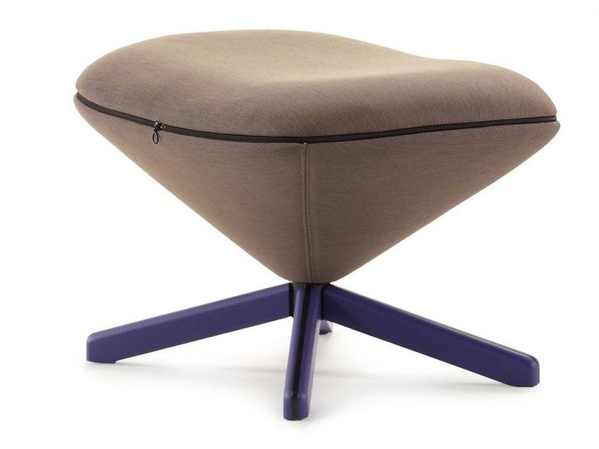 Fabric footstool with 4-spoke base TORTUGA | Fabric footstool by Sancal