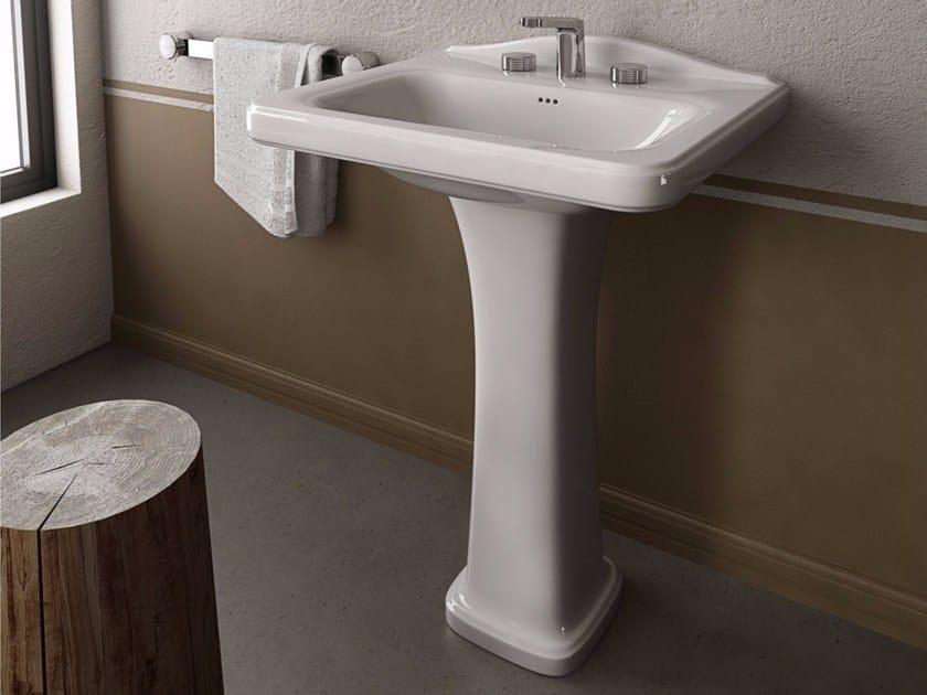 Rectangular ceramic washbasin TOSCA | Pedestal washbasin by Hidra Ceramica