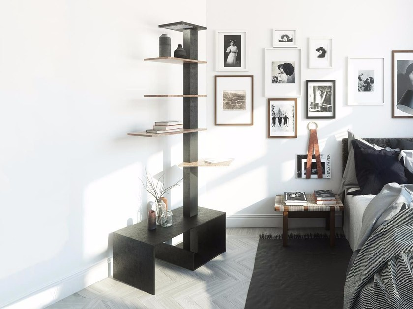 Freestanding metal bookcase with built-in lights TOTEM by Damiano Latini