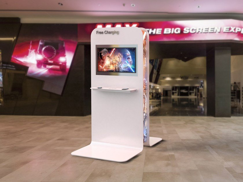 Multimedia display stand TOTEM RECHARGE | Multimedia display stand by Zuri Design