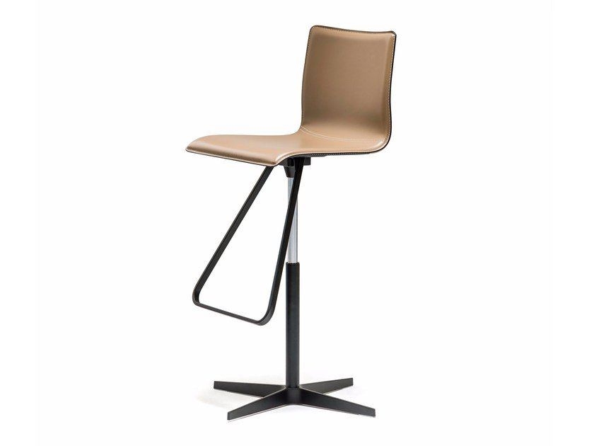 High swivel leather stool with 4-spoke base TOTO X by Cattelan Italia