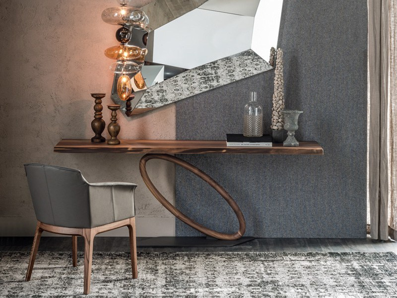 Rectangular walnut console table TOUR by Cattelan Italia