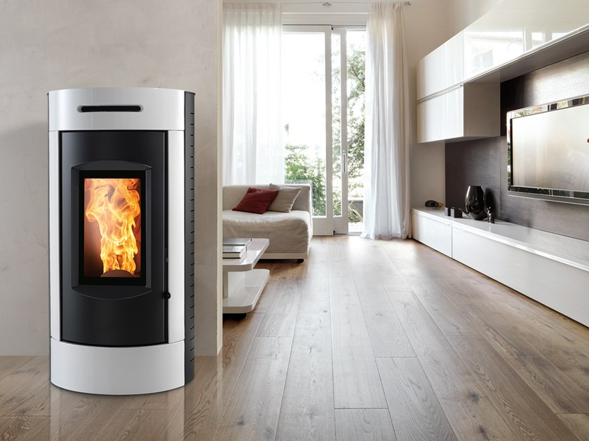 Pellet Class A+ wall-mounted steel stove TOUR EVO by CAMINETTI MONTEGRAPPA