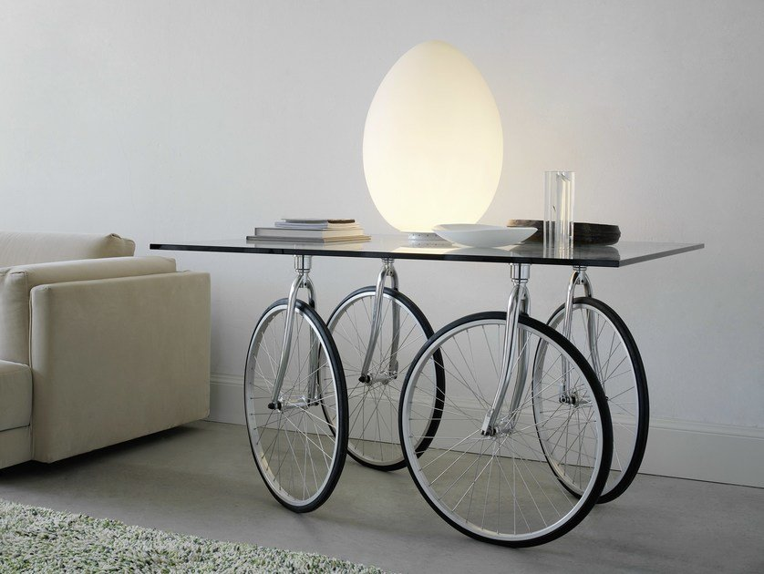 Square float glass table TOUR by FontanaArte