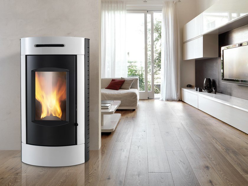 Pellet Class A+ wall-mounted steel stove TOUR XW | Pellet stove by CAMINETTI MONTEGRAPPA