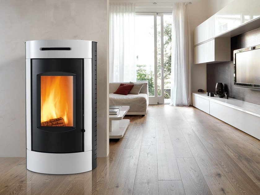 Wood-burning Class A wall-mounted steel stove TOUR XW | Wood-burning stove by CAMINETTI MONTEGRAPPA