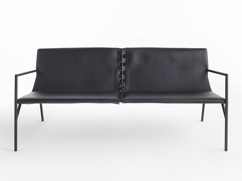2 seater tanned leather sofa TOUT LE JOUR | 2 seater sofa by Casamania & Horm