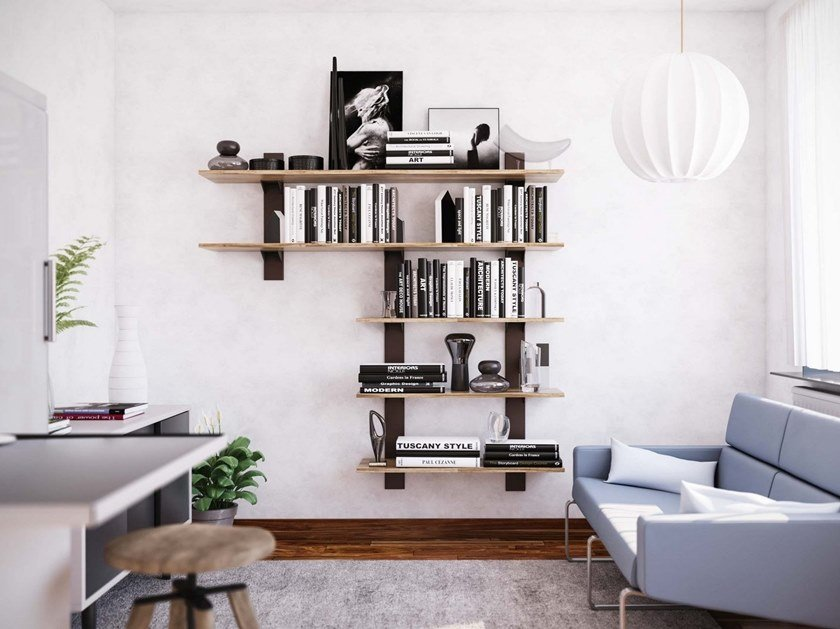 Wall-mounted bookcase TOWER by Damiano Latini