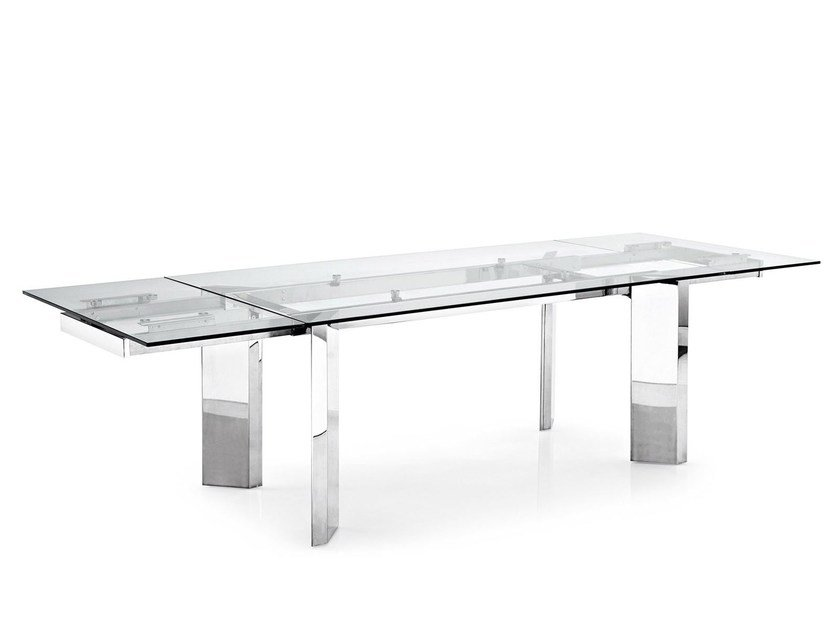 Tavolo Allungabile Vetro Calligaris.Tower Glass Table By Calligaris