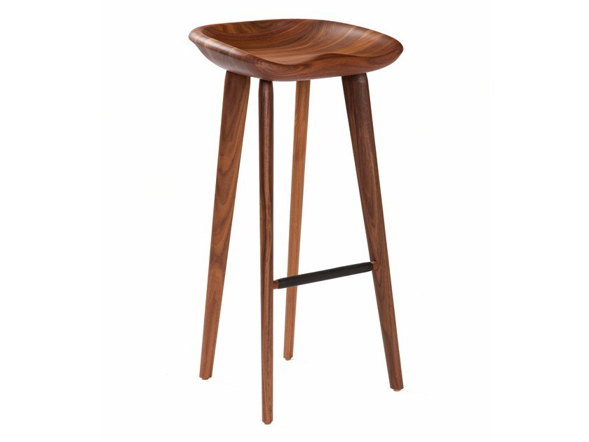Solid wood barstool with footrest TRACTOR | Barstool by BassamFellows
