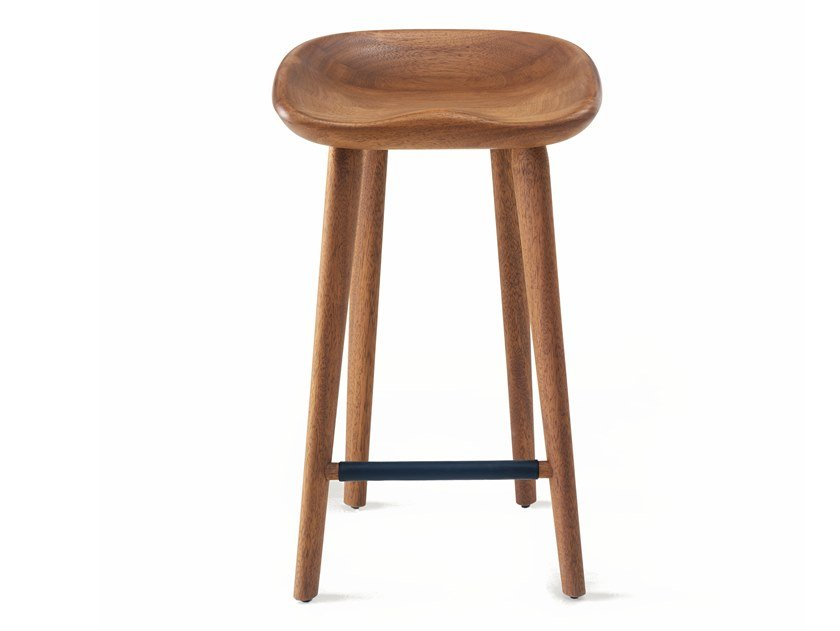 Solid wood counter stool with footrest TRACTOR | Counter stool by BassamFellows